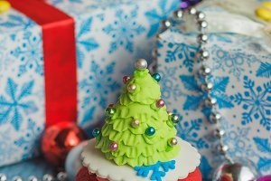 Christmas cupcake with colored decor