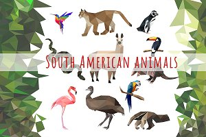 Vector set of South American animals