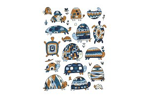 Funny turtles collection, sketch for