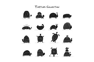 Funny turtles set, sketch for your