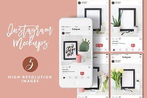 5 Styled Instagram Mockups Vol_01