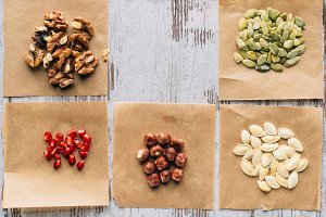 top view of nuts, pumpkin seeds and