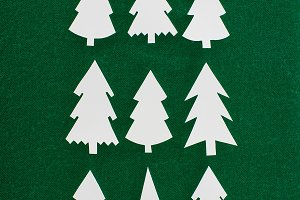 top view of decorative paper christm