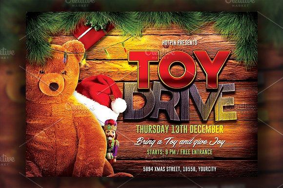 Christmas Toy Drive Flyer Template Flyer Templates Creative Market