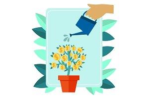 Money plant metaphor illustration