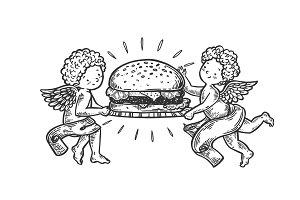 Angels with Hamburger engraving