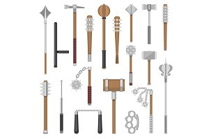 Medieval weapons vector ancient