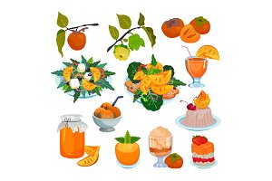 Persimmon vector fresh fruity food