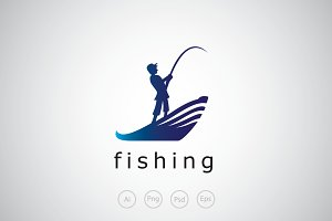 Fishing Man Logo Template