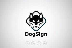 Husky Dog Sign Logo Template