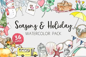 Seasons & Holiday Watercolor Pack