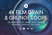 50 4K Film Grain & Grunge Loops by  in Textures