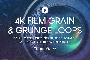 50 4K Film Grain & Grunge Loops