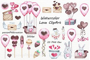 Watercolor Love ClipArt set