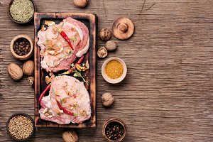 Raw meat,pork steak
