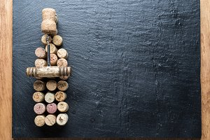 Wine corks in the shape of wine bott
