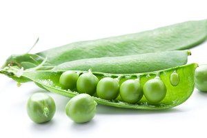Fresh peas are contained within a po