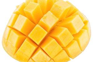 Slices of mango fruit over white. Fi