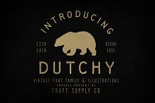 Dutchy - Vintage Type Family +Extras by  in Sans Serif Fonts