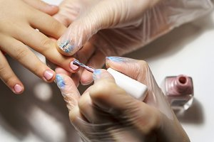 Professional manicure for child