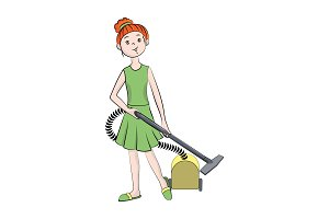 Girl with a vacuum cleaner. Vector