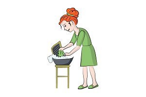girl washes clothes. Vector color