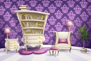 Cartoon white bedroom furniture