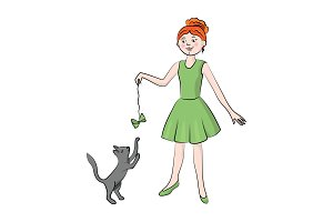 Girl playing with a cat. Vector