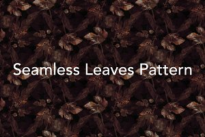 Dark Leaves Seamless Pattern