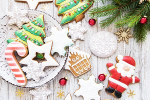Christmas cookies and Christmas tree
