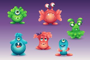 Set of colored cartoon monsters