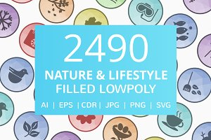 2490 Nature & Lifestyle Filled Icons