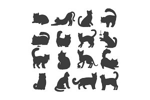 Set of Cats Vector Flat Design
