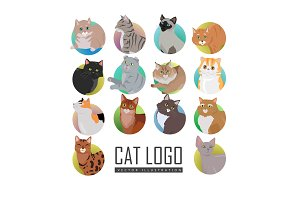 Set of Cat s Faces Vector Flat