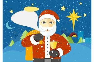 Happy Santa Claus with Speech Bubble