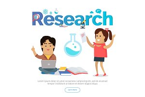 Research Conceptual Vector Banner in