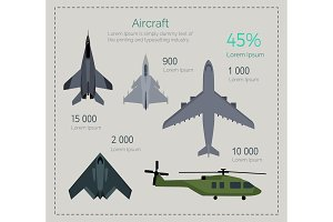 Set of Military Aircraft Vector