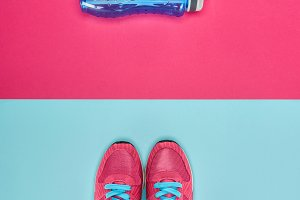 Sports equipment with shoes and wate
