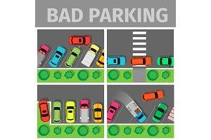 Bad Parking Set. Car Parked in