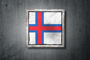 Faroe Islands flag in concrete wall