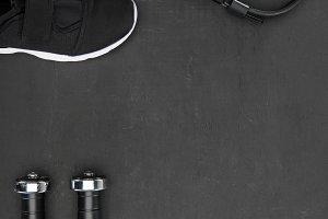 Sneakers, dumbbells and headphones o