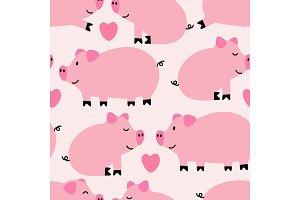 Cute pigs seamless pattern