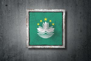 Macau flag in concrete wall