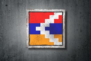 Republic of Artsakh flag in concrete