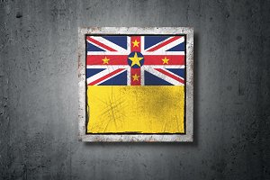 Niue flag in concrete wall