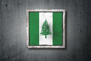 Norfolk Island flag in concrete wall