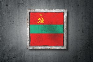 Transnistria flag in concrete wall