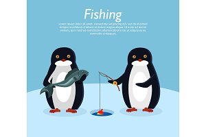Fishing Banner. Penguin Animals on