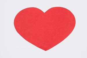 simple red heart isolated on white,