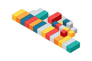 Sea Containers in Isometric